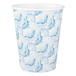 Blauwal-Familien-Weiß Pappbecher