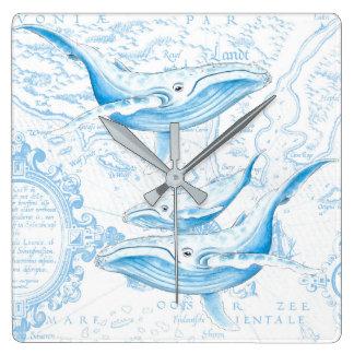 Blauwal-Familien-Weiß Quadratische Wanduhr