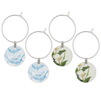 Blauwal-Familien-Weiß Weinglas Anhänger