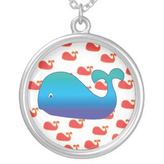 Blauwal Halskette Mit Rundem Anhänger