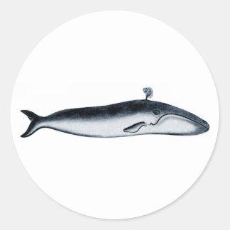 Blauwal-Illustration (Herausspritzen) Runder Aufkleber