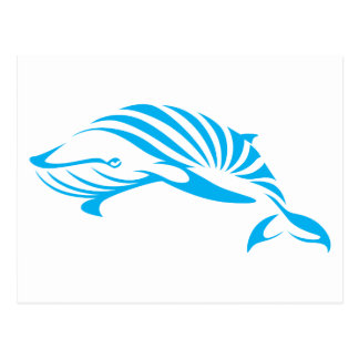 Blauwal im Swish, der Art zeichnet Postkarte