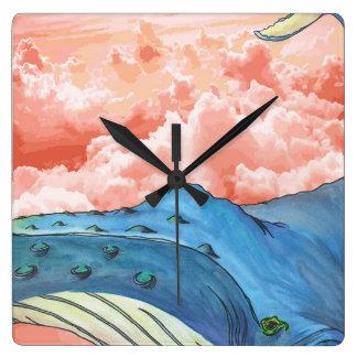 Blauwal in der rosa Wolken-Uhr Uhr