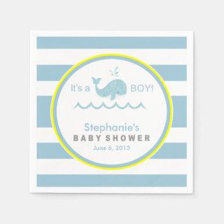 Blauwal-Jungen-Babyparty-Papierservietten Papierserviette