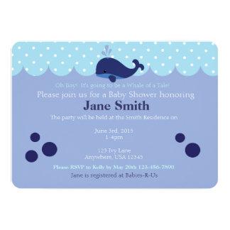 Blauwal-themenorientierte Baby-Dusche Invitatio 12,7 X 17,8 Cm Einladungskarte