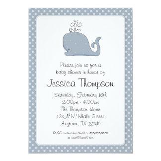 Blauwal-Tupfen-Jungen-Babyparty 12,7 X 17,8 Cm Einladungskarte