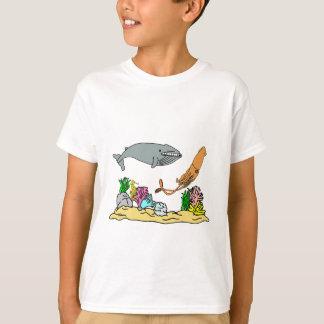 Blauwal und riesiger Tintenfisch T-Shirt