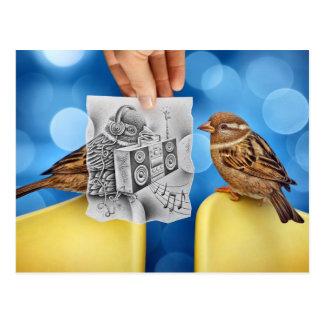 Bleistift gegen Kamera - Electro-Vogel Postkarte