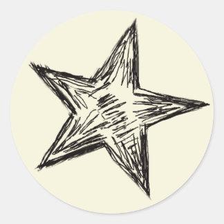 Bleistift skizzierte schwarze Kontur-Stern-Form Runder Aufkleber