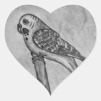 Bleistift-Zeichnen von Parakeet sitzend auf Herz-Aufkleber
