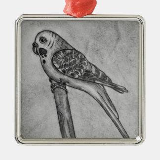 Bleistift-Zeichnen von Parakeet sitzend auf Quadratisches Silberfarbenes Ornament