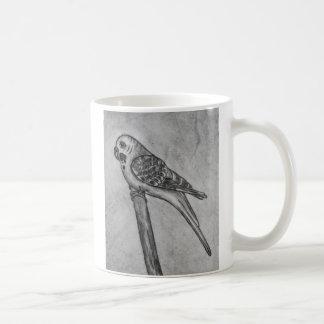 Bleistift-Zeichnen von Parakeet sitzend auf Tasse