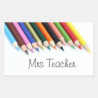 Bleistifte Frau Teacher Farb Rechteckiger Aufkleber