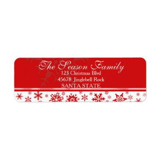 Blendungs-Schneeflocke-Feiertags-Adressen-Etikett Rücksendeetiketten