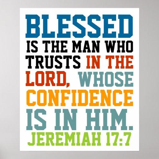 Blessed ist das Mannbibel-Vers Jeremias-17:7 Plakate