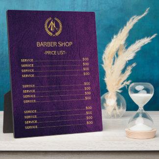 Blick-Preisliste des Friseurgeschäftes lila Fotoplatte