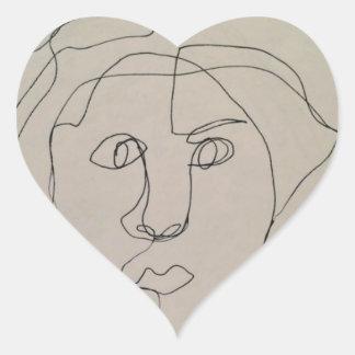 Blinde Kontur, die Entwurf zeichnet Herz-Aufkleber