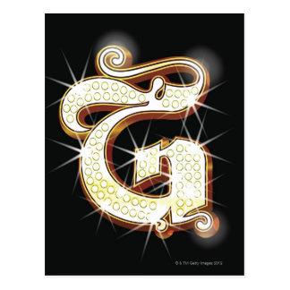 Bling Alphabet G Postkarte
