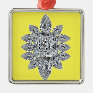 Bling auf Gelb Quadratisches Silberfarbenes Ornament