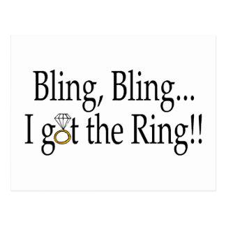 Bling Bling erhielt ich die Ring-Hochzeits-Verlobu Postkarte