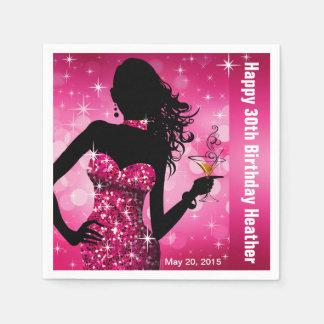 Bling Bomben-Schein-Geburtstags-Party | fuschia Serviette