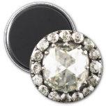 Bling Diamantrhinestone-Vintager Kostüm-Schmuck Runder Magnet 5,7 Cm