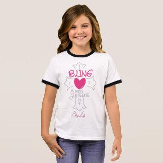 Bling Leben-Mädchen I Bling für Jesus-Wecker-T - Ringer T-Shirt