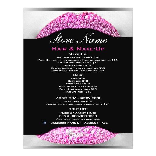 Bling Make-upkünstler-Schönheits-Salon-Liste von D Bedruckte Flyer