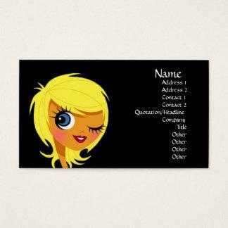 Blinzeln der blonden Mädchen-Visitenkarten Visitenkarten