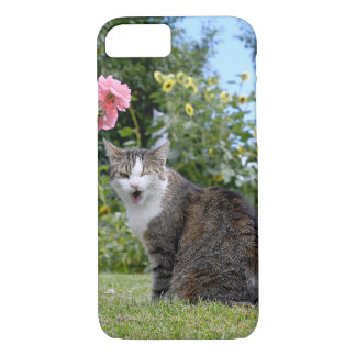 Blinzeln der Tabbykatze auf Gras iPhone 8/7 Hülle