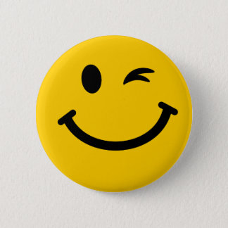 Blinzeln des Smileys Runder Button 5,1 Cm