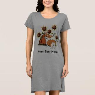 Blinzeln von WaliserCorgi mit Sun-Blumen-Kleid Kleid