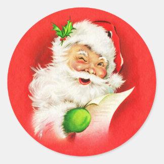 Blinzeln von Weihnachtsmann Runder Aufkleber