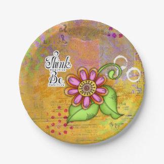 Bliss-positive Gedanken-Gekritzel-Blumen-Platte Pappteller