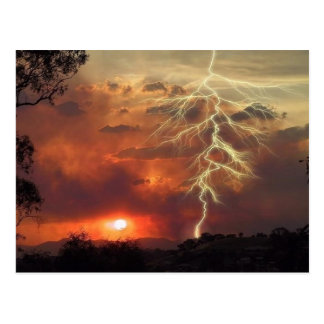 Blitz am Sonnenuntergang Postkarte
