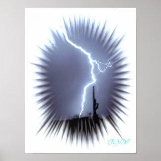 Blitz-Silhouetten ein Saguaro-Kaktus - Blitz Poster