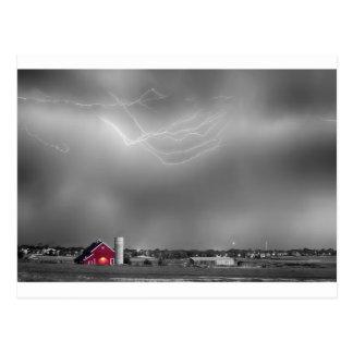 Blitz-Sturm und die große rote Scheune BWSC Postkarte