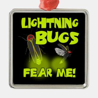 Blitz-Wanzen befürchten mich Quadratisches Silberfarbenes Ornament