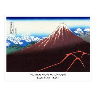 Blitze unter dem Gipfel Katsushika Hokusai Postkarte