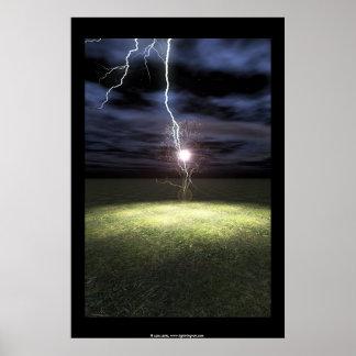Blitzschläge ein Baum Poster