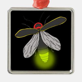 Blitzwanzenflug beleuchtet quadratisches silberfarbenes ornament