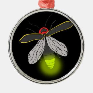 Blitzwanzenflug beleuchtet rundes silberfarbenes ornament