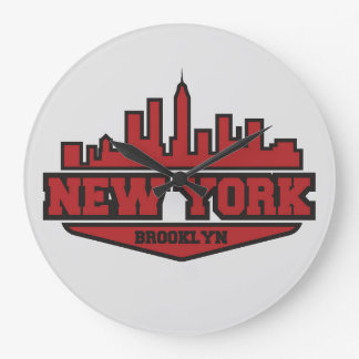 Block-Art-Skript Brooklyns New York | Große Wanduhr
