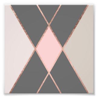 Block-Rosen-Goldstreifen des Chic rosa graue Farb Fotodruck