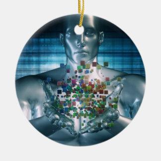 Blockchain Lösungen im Geschäfts-Weltkonzept Keramik Ornament