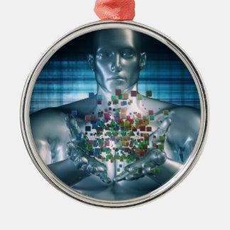 Blockchain Lösungen im Geschäfts-Weltkonzept Silbernes Ornament