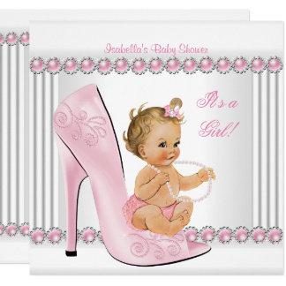 Blonde Babyparty-Mädchen-Rosa-Perlen-Absatz-Schuhe Karte