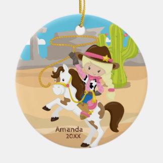 Blonde Cowgirl-zu Pferde Keramik Ornament