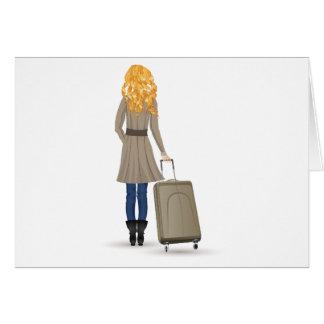 Blonde Frau mit Koffer Karte