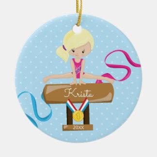 Blonde Gymnast-Gymnastik-Weihnachtsverzierung Keramik Ornament